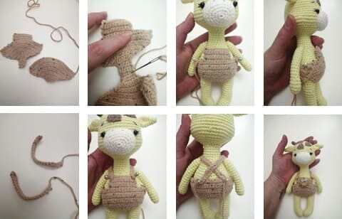 Crochet Giraffe Rufus Amigurumi Free Pattern overalls hanger