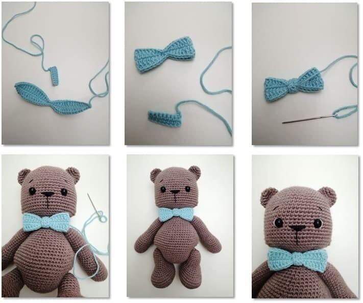 Crochet Teddy Bear Bubsy Amigurumi Pattern bow stripe