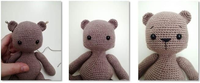 Crochet Teddy Bear Bubsy Amigurumi Pattern ears