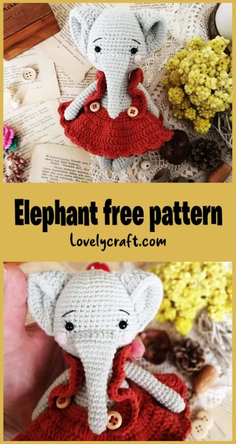 Elephant Melanie Doll Amigurumi Free Crochet Pattern