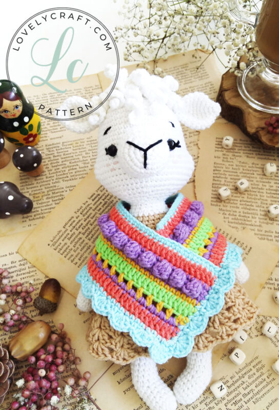 Llama Patmos amigurumi crochet free pattern zoom