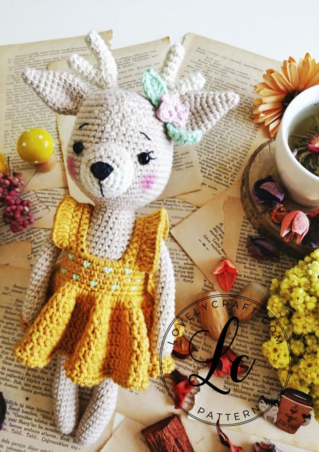 Lovely Deer crochet amigurumi free pattern with dress
