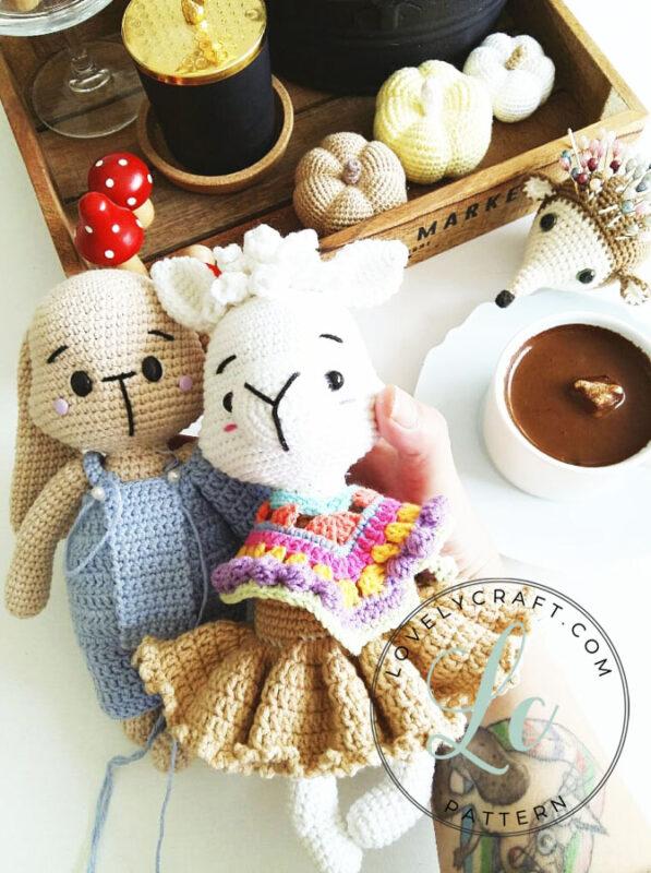 Llama Patmos with bunny amigurumi crochet free pattern