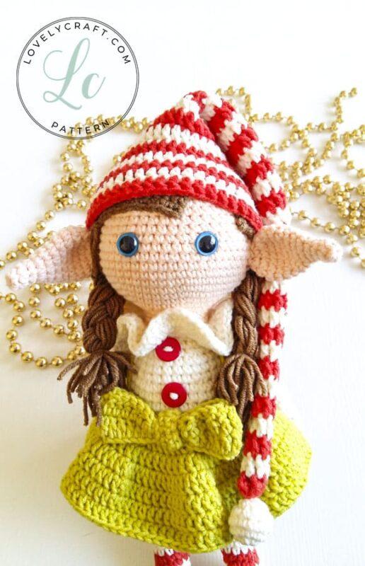 Elf Berry Amigurumi Christmas crochet pattern with hat