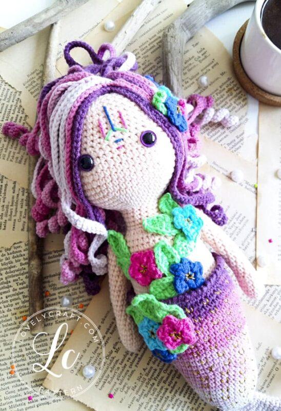 Mermaid Calypso amigurumi hair and face