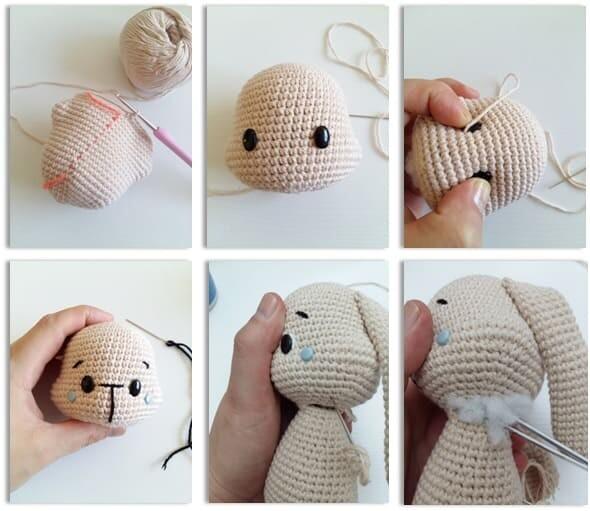 Crochet Bumble Bunny Amigurumi Free Pattern head 2