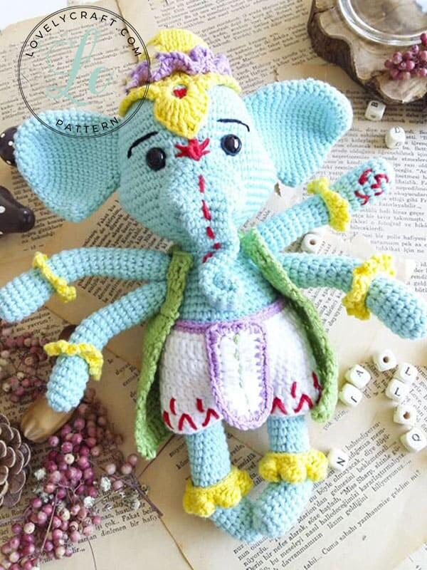 Crochet Elephant Ganesha Amigurumi Free Pattern