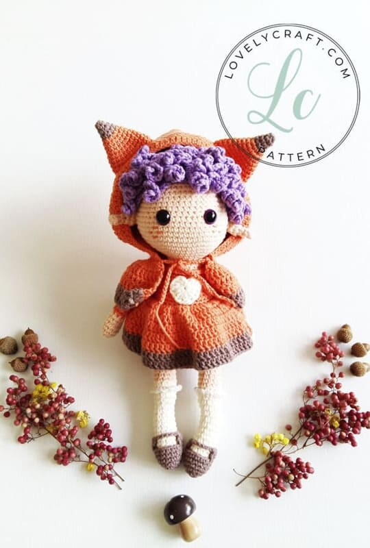 Crochet Fox Girl Doll Amigurumi Free Pattern (1)