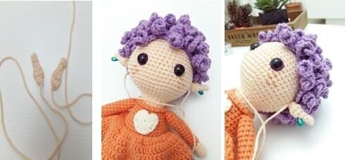 Crochet Fox Girl Doll Amigurumi Free Pattern ears