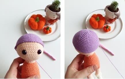 Crochet Fox Girl Doll Amigurumi Free Pattern hair cap