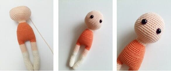 Crochet Fox Girl Doll Amigurumi Free Pattern head