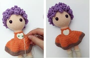Crochet Fox Girl Doll Amigurumi Free Pattern heart