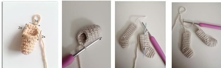 Crochet Lamb Muffin Amigurumi Free Pattern legs