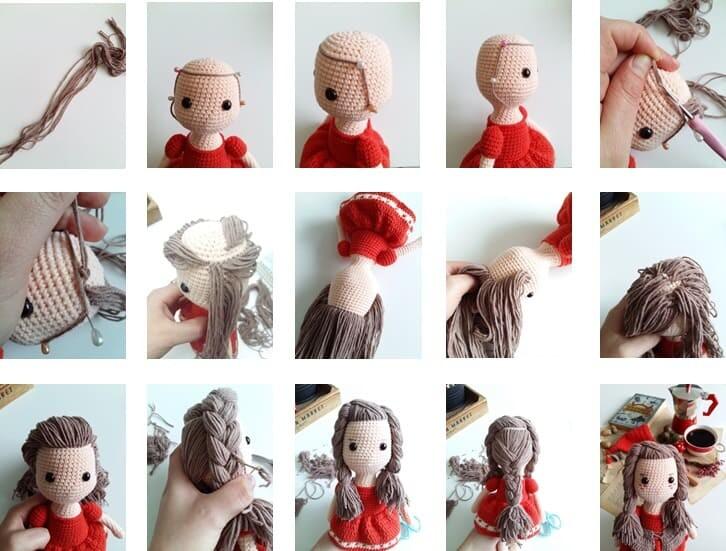 Crochet Little Red Riding Hood Amigurumi Free Pattern hair