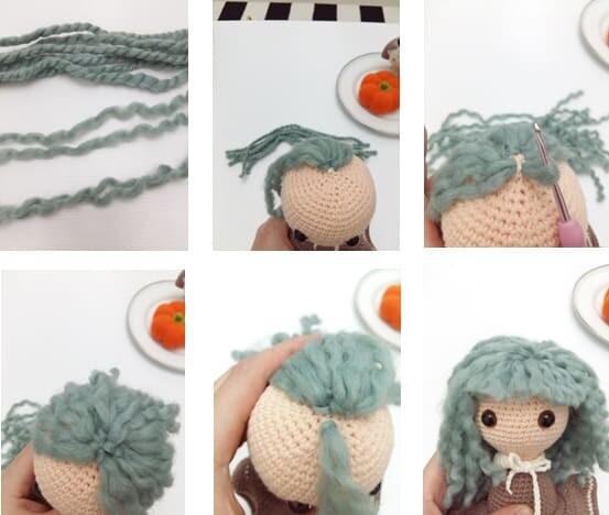 Crochet Sabrina The Witch Amigurumi Free Pattern hair