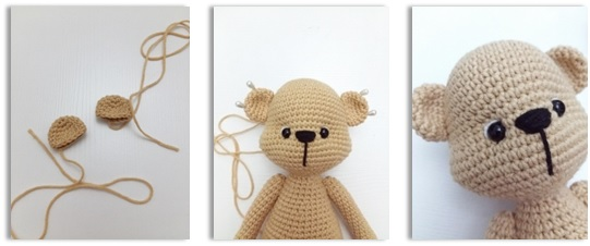 Ear (Use milky brown color yarn and make 2)
