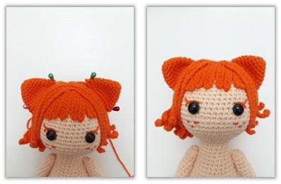 Crochet Cat Girl Doll Amigurumi Free Pattern ear2
