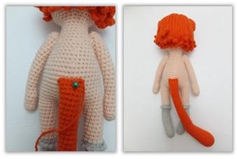 Crochet Cat Girl Doll Amigurumi Free Pattern tail