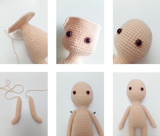 Head (with skin color yarn)