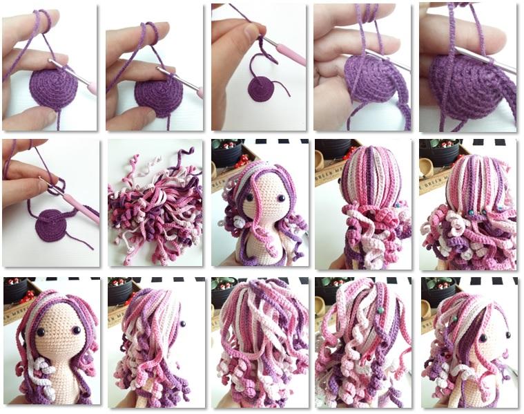 Calypso Mermaid Amigurumi Crochet Free Pattern hair