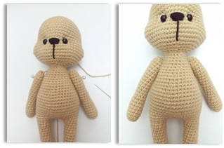 Arms (Use milky brown color yarn and make 2)