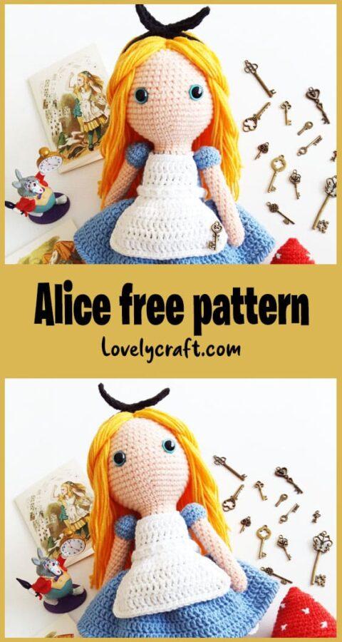 Alice in Wonderland Amigurumi doll free crochet pattern