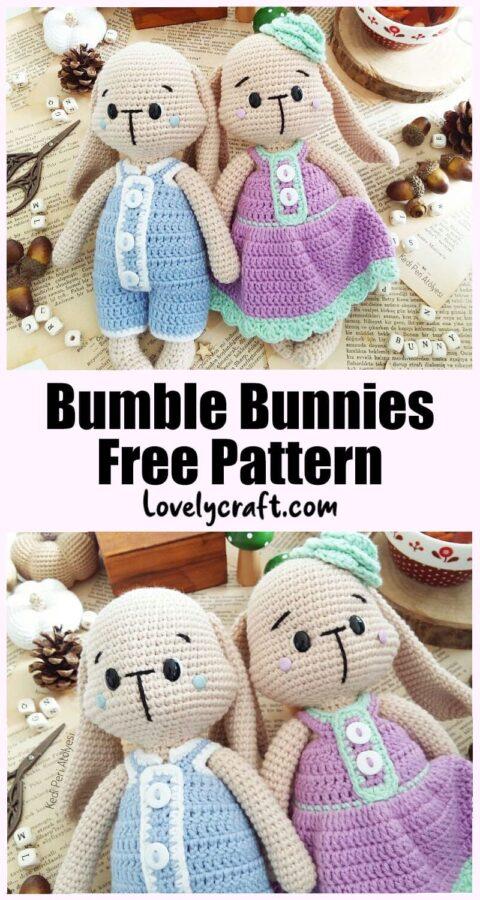 Mrs. & Mr. Bumble Bunny doll Amigurumi free crochet pattern