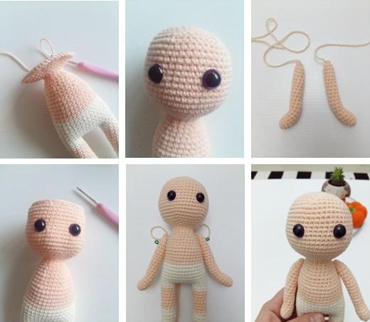 Arm (in skin color yarn, make 2 )