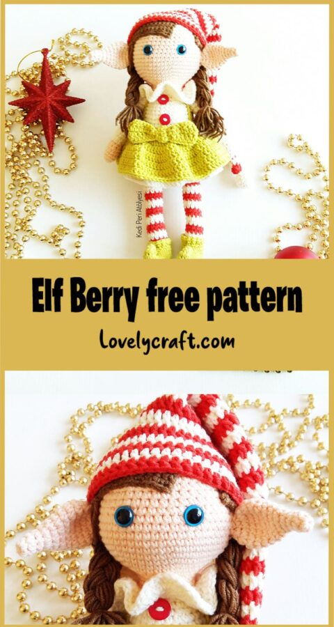 Crochet Elf Berry Christmas Doll Amigurumi Pattern
