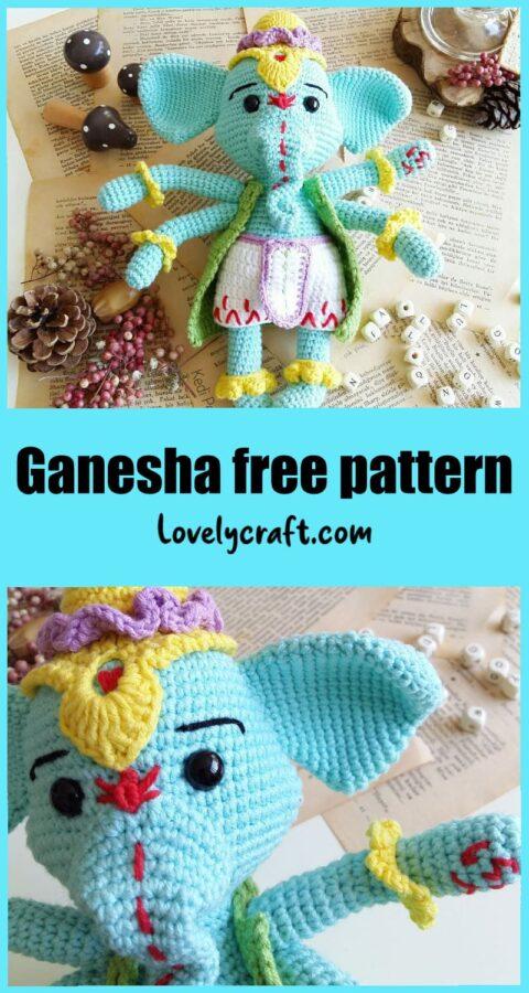 Ganesha Elephant doll Amigurumi free crochet pattern