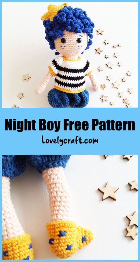 Gece The Night Boy Amigurumi doll free crochet pattern