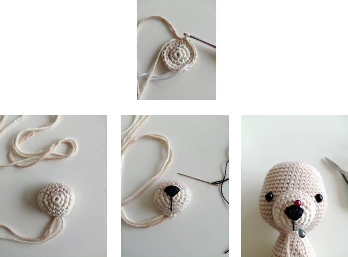 Deer amigurumi crochet face and horn