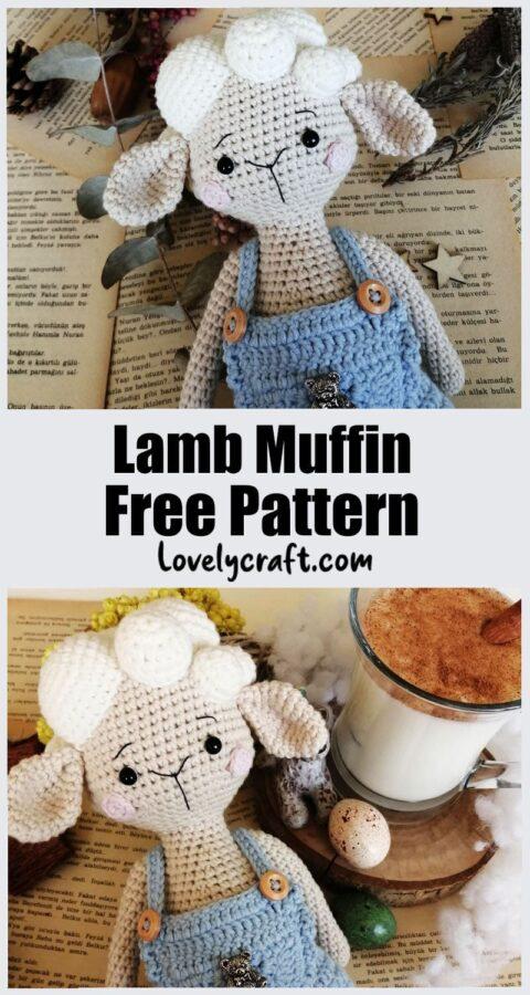 Lamb muffin doll sheep amigurumi free crochet pattern