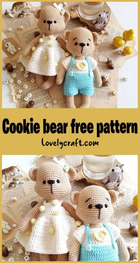 Mr. Cookie Teddy Bear Amigurumi Crochet Pattern