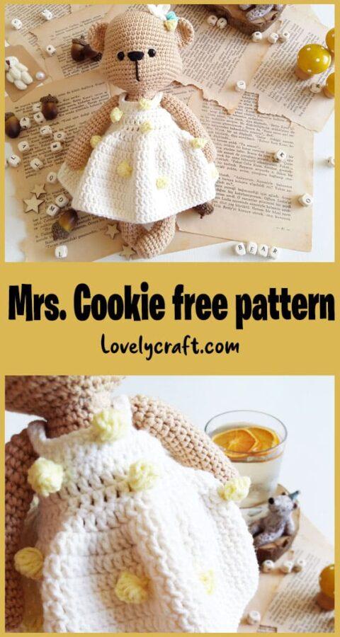Mrs. Cookie Teddy Bear Amigurumi doll free crochet pattern