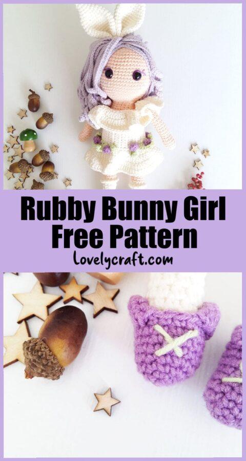 Rubby Bunny Girl amigurumi doll free crochet pattern