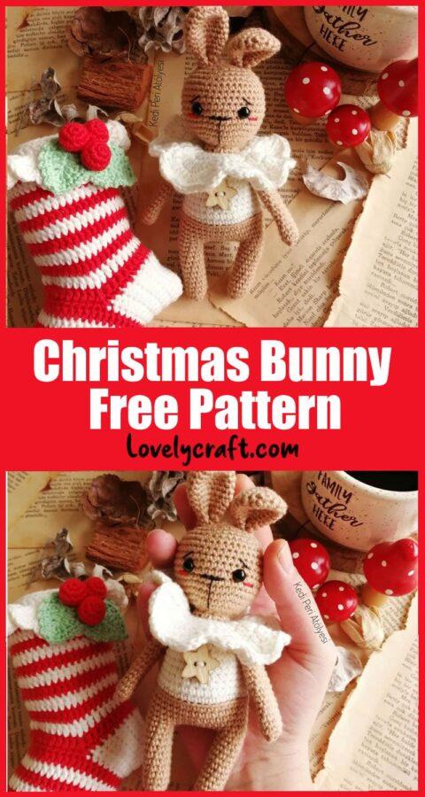 Christmas bunny with socks amigurumi free crochet pattern