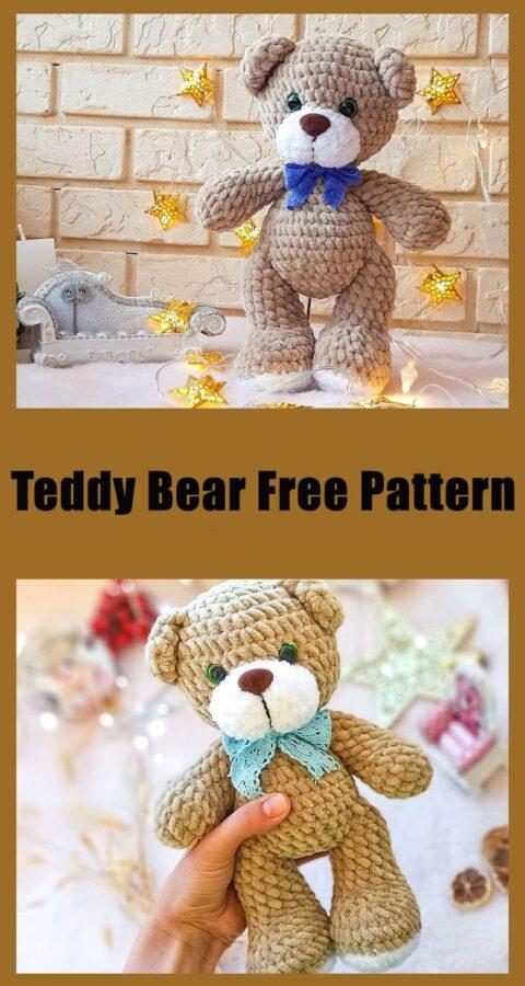 Cute teddy bear amigurumi toy free pattern
