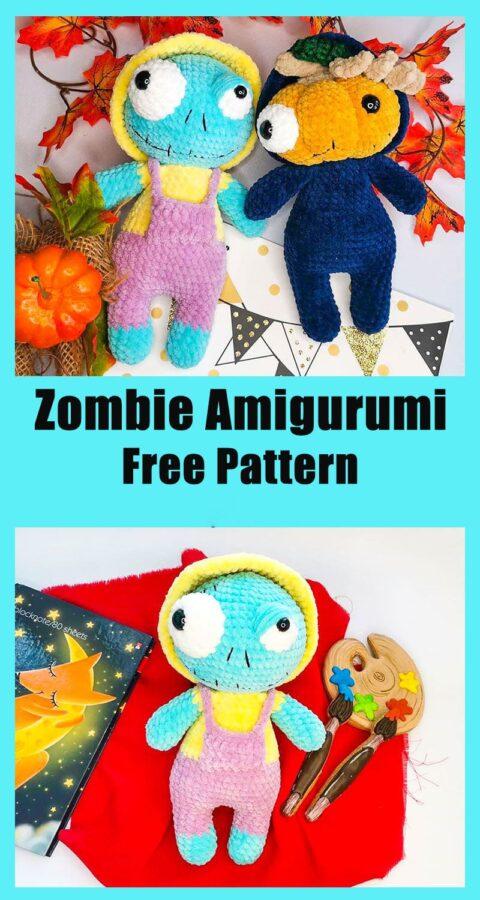 Halloween zombie amigurumi crochet free pattern
