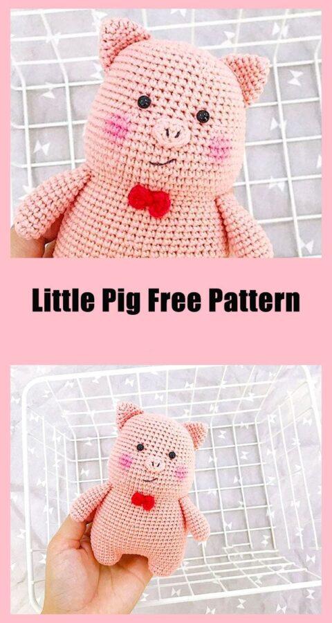 Little pig animal toy amigurumi free crochet pattern