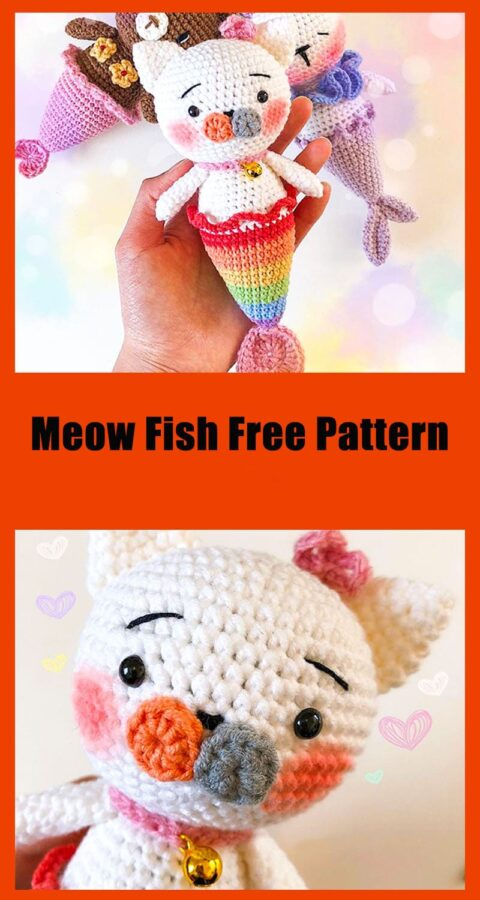Meow seal fish free amigurumi crochet pattern
