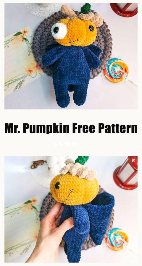 Hallowen Mr. Pumpkin Zombie Amigurumi Crochet Free Pattern