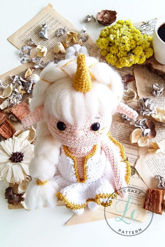 Noorwik viking unicorn elf girl doll amigurumi horn and hair