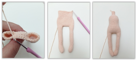 Body is complete, start crocheting head without breaking the yarn. Stuff the body.