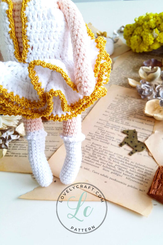 Noorwik viking unicorn elf girl doll amigurumi dress and foot