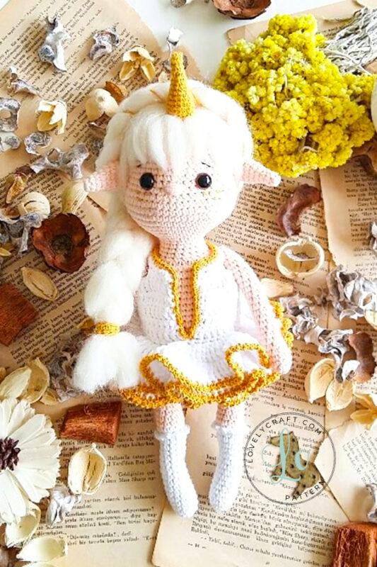 Noorwik viking unicorn elf girl doll amigurumi golden colors