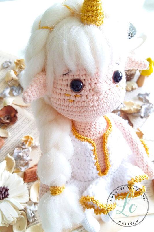 Noorwik viking unicorn elf girl doll amigurumi face and dress