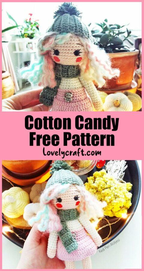 Cotton candy lily amigurumi doll free pattern