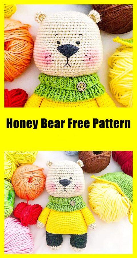 Honey bear amigurumi toy free crochet pattern