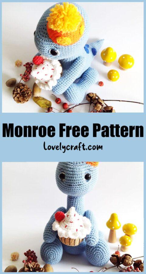 Happy monroe dinosaur amigurumi toy free crochet pattern